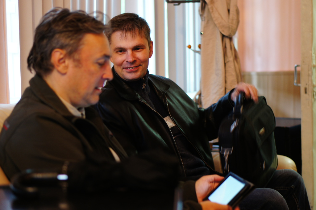 Александр Рудой и Владимир Суворов - авторы работ выставки.
