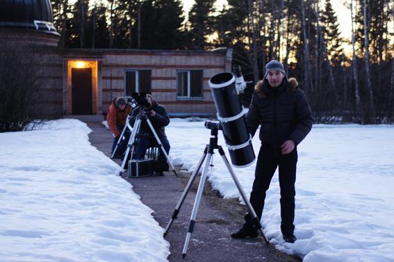 Начало вечерних наблюдений на Звенигородской обсерватории.