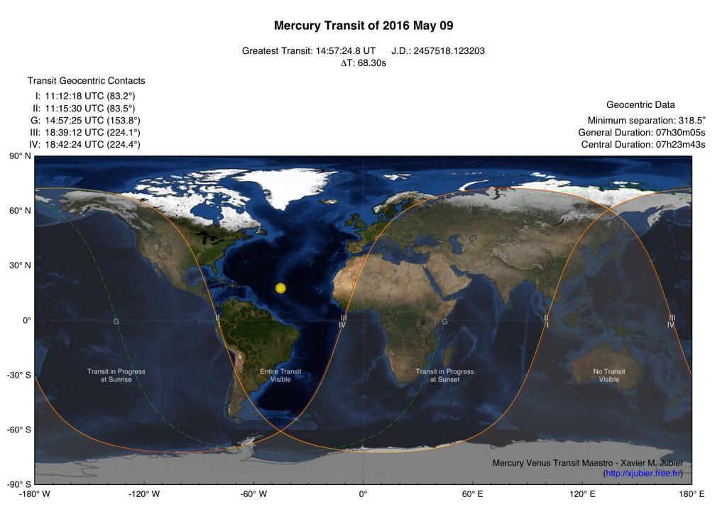 Карта видимости транзита Меркурия 9 мая